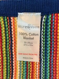 "Silvercloud 100% cotton baby blanket primary colored stripes  blue border70""x90"""
