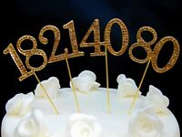 45mm Gold Diamante Rhinestone Cake Topper Birthdays Wedding Diamonte Numbers UK