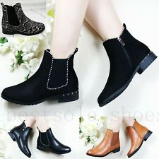 LADIES WOMENS STUDDED CHELSEA ANKLE BOOTS LOW MID BLOCK HEEL DETAILED BOOTS SIZE