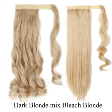 100% Real Thick Clip In As Human Hair Extensions Wrap On Ponytail Grey Ombre Mix