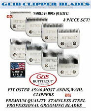 GEIB BUTTERCUT STAINLESS STEEL 8pc BLADE SET*Fit Oster A5 A6,Most Andis Clippers
