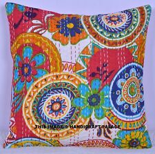 """16"""" Indian Floral Cushion Cover Pillow Case Kantha Quilted Work Throw Decor 40CM"""