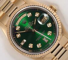 Rolex Day-Date President Solid 18k Gold 18038 Watch-Baguette Diamond Green Dial