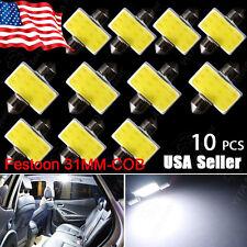 10X White COB LED Map Dome Interior Light Bulbs 31MM Festoon 3175 3022 DE3175 US