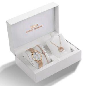 IBSO Ensemble de Bijoux Femme Montre à Quartz +Bracelet Design Cristal + Collier