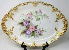 Theo Haviland Limoges large Serving Tray/Platter w/ Morning Glories & Heavy Gold