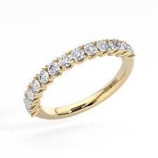 0.70ct Fishtail Set Round Cut Diamonds Half Eternity Ring in 9K Yellow Gold