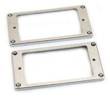 NEW - Humbucking Slanted Pickup Ring Set, Flat Bottom - CHROME FINISHED PLASTIC
