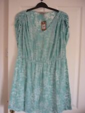 Mantaray Aqua Floral Burnout Print Fiji Kaftan Dress UK 16 EUR 42-44 US 12
