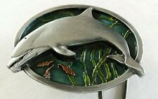 DOLPHIN COLORFUL OCEAN SCENE SMALL BELT BUCKLE BERGAMOT 1984 MADE IN USA NEW