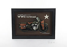 "Harley Davidson Motorcycle Wwii Army 3D Metal Model Painting 28"" Military Decor"