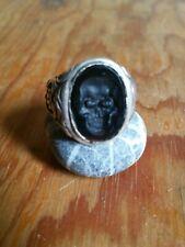 Siegelring Silber Totenkopf Skull Okkult Ring Onyx Vanitas Ehrenring Freimaurer