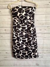 Banana Republic Black and White Satin Strapless Cocktail Dress Circles Size 4