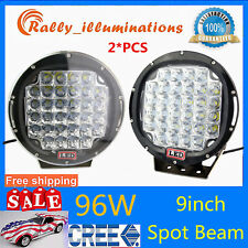 2X 96W 9inch Spot Led Work Light Boat Truck 4WD Offroad Driving Bumper 105W 185W