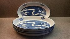 SET OF 4 WHITE AND BLUE AUGRATIN TYPE OVAL SERVING DISHES ASIAN DESIGN