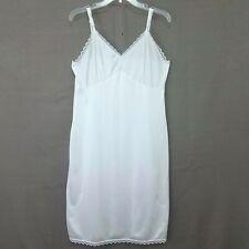 Womens Nylon Full Slip Lingerie Sz 20W White Antron lll Lace Trim (runs smaller)
