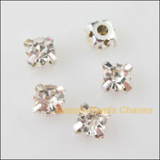20 New Silver Plated Bottom Loose Crystal Handmade Sew on Claw Rhinestone 6mm