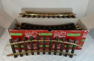 "Lehmann LGB Playmobil Track in box 12 curved 1100 12""  Brass Rails W. Germany"