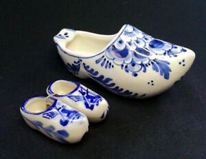 3 x Delf Pottery Clogs One Signed D.P (De Delftse Paauw) | FREE Delivery UK*