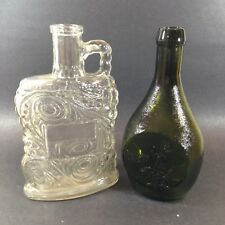 2 Old Glass Bottles EMPTY Clear Federal Law Forbids Sale & Green Summer Savory