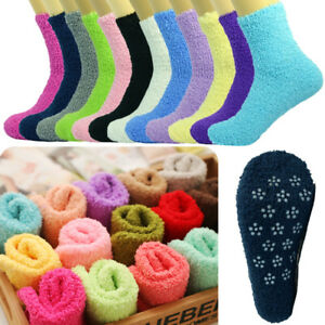 For Womens 10 Pairs Soft Winter Non-Skid Cozy Fuzzy Solid Slipper Socks 9-11