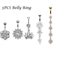 5Pcs Stainless Steel Belly Button Ring Body Jewelry Set Dangle Navel Ring 14G