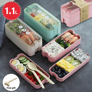 3 Layer Bento Box Lunch Box Eco-Friendly Leakproof Microwave Food Container 1.1L