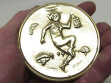 Cornish Pixie Pigky embossed Brass Copper pin tray or personal ashtray w/Lantern