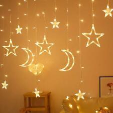 LED Curtain Lighting Strings Neon Fairy Light Moon Star Shaped Decorative Lamp