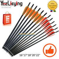 "16''17''18''20''22'' Crossbow Bolts Carbon Shaft Arrow w/4"" vanes Feather Nocks"