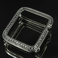 14K Black Gold Plated Over Real Silver Apple Watch Lab Diamond Case 42MM Bezel 2