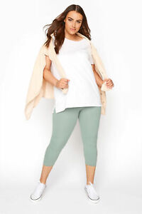 Yours Women's Sage Cropped Leggings Plus Size Curve Green Size