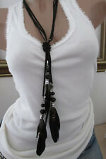 XXL Necklace Hippie Necklace Feather Necklace Pearls Festival Ibiza Black Boho