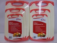 Lot of 2 New Intriom Home Kitchen Chopping Cutting Boards 3 Piece Set S M L Red