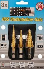 Set 3 frese a gradino in Blister Att1/4 Kraftmann Officina