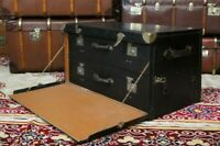 Antique Black Canvas Motoring Car Trunk with Two Removable Cases