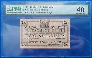 Fiji ; 2 shillings 1942, P-50a, PMG XF 40