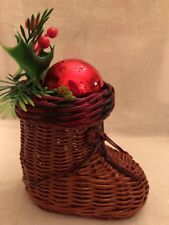 Wicker Snow Boot Shoe Decorative Christmas Holiday Shaped Basket Red Glass Ball