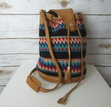 SOUTHWESTERN Multicolor Embroidered  Leather Duffle Crossbody Shoulder Boho Bag
