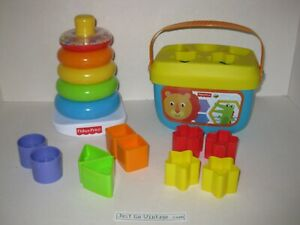 Fisher-Price Rock-a-Stack & Baby's 1st Blocks Bundle Shapes Ring Toy NEW, NO BOX