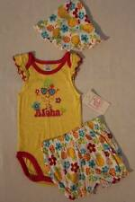 NEW Baby Girls 3 pc Outfit 6 - 9 Mos Yellow Bodysuit Shorts Hat Set Aloha Floral