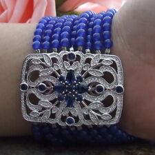 """59 Strands Blue Jade 8"""" Bracelet CZ rectangle Connector"""