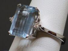 Vintage 5.8CT Topaz & Diamond 10K White Gold Cocktail Ring, 5.5g, size 8