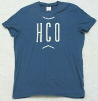 Hollister Tee T-Shirt Blue Short Sleeve CottonPoly Mans Crewneck Top Solid Small