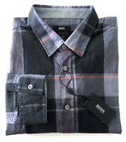 $145 Nwt Hugo Boss Ronni_2 Black Slim Fit Shirt Grey Black Check M XL XXL