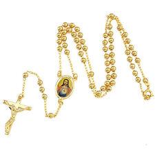 mens 9K Yellow Gold Filled Rosary Pray Bead Jesus Cross Pendants Necklace