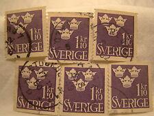 Sweden Stamp 1948 Scott 396 A56 Purple 1 10 Crowns Set of 6