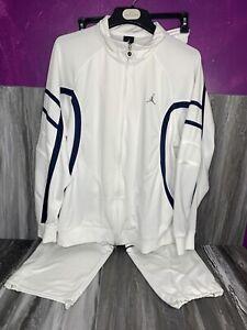 Jordan Jogging Suit White, Blue Trim Gray Logo LG