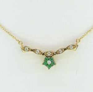 Gold Diamond Necklace - 18ct Yellow Gold Emerald & Diamond Necklace