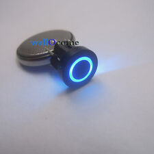 1pc Blue LED 10mm Black Cap CIRCLE 12V 50mA Momentary Tact Push Button Switch